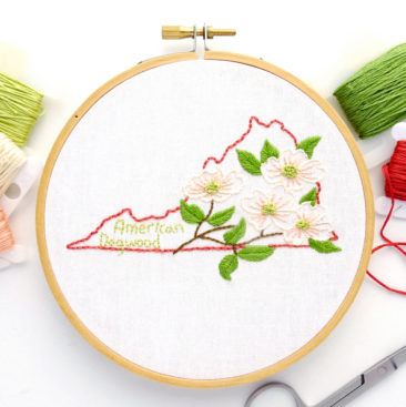 Virginia State Flower Hand Embroidery Pattern {American Dogwood}