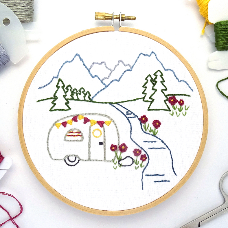Mountain Meadow Vintage Trailer Hand Embroidery Pattern