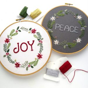 Joy & Peace Wreath Hand Embroidery Pattern