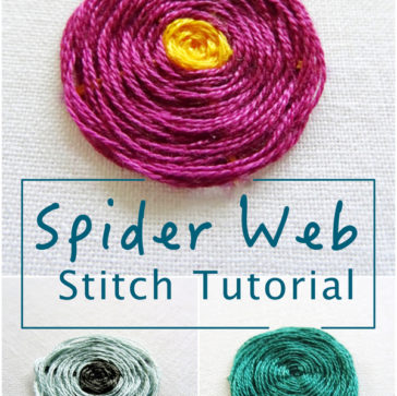Spider Web Stitch Tutorial ~ Wanderingthreadsembroidery.com