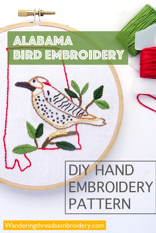Alabama Diy Hand Embroidery Pattern Wandering Threads Embroidery