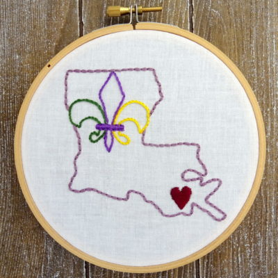 Louisiana State Hand Embroidery Pattern