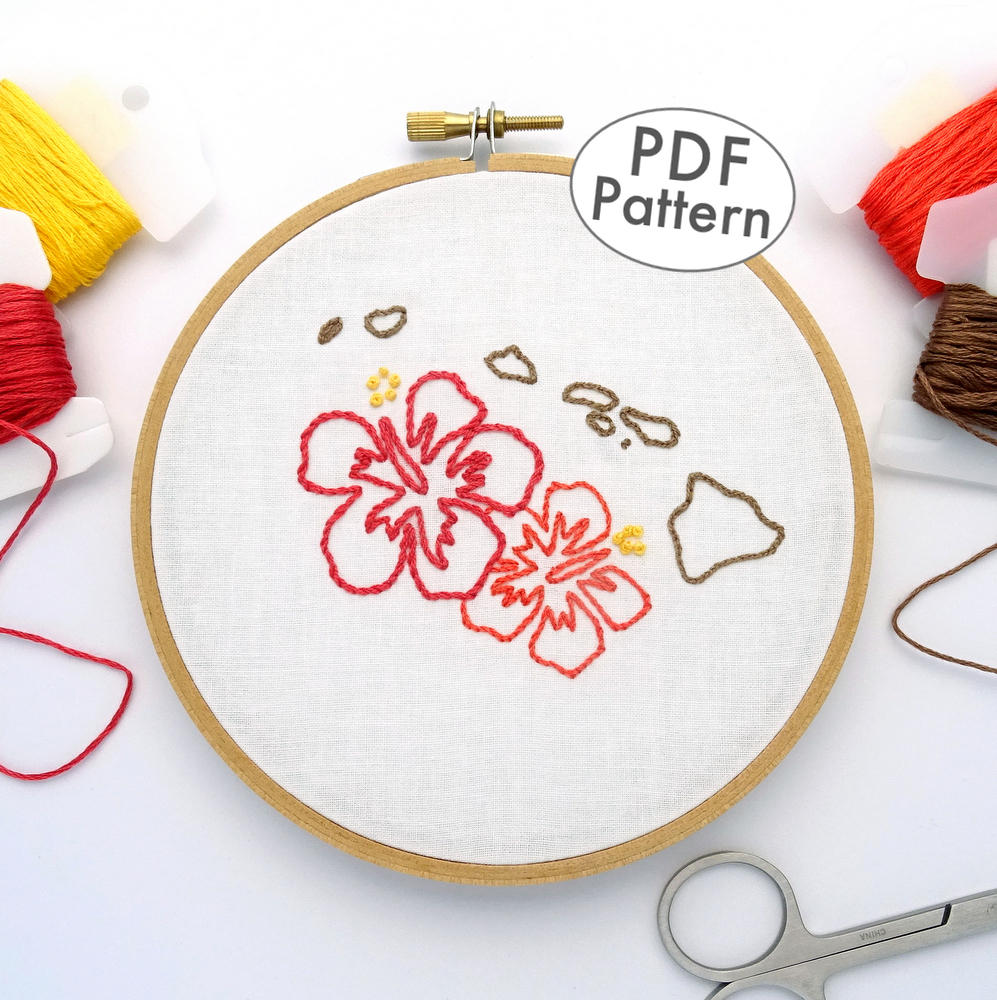 Hawaii Hand Embroidery Pattern Wandering Threads Embroidery