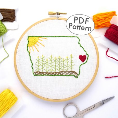 Iowa Hand Embroidery Pattern