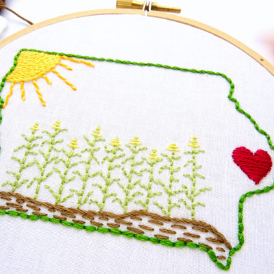Iowa Hand Embroidery Pattern