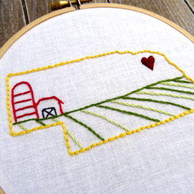 Nebraska State Hand Embroidery Pattern
