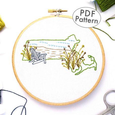 Massachusetts Hand Embroidery Pattern