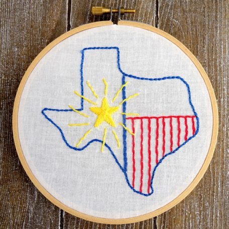 Texas State Hand Embroidery Pattern