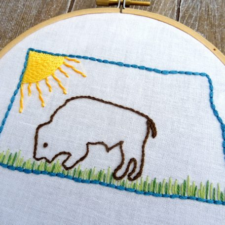 North Dakota State Hand Embroidery Pattern