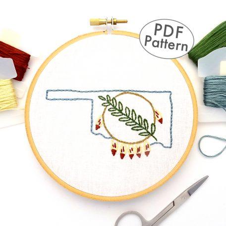 Oklahoma Shield Hand Embroidery Pattern