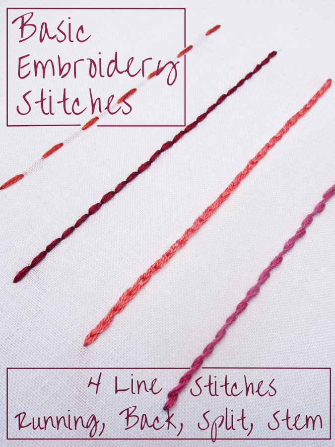 Basic Embroidery Stitches 4 Line Stitches Wandering Threads
