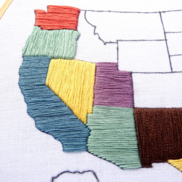 United States Travel Map Embroidery Pattern