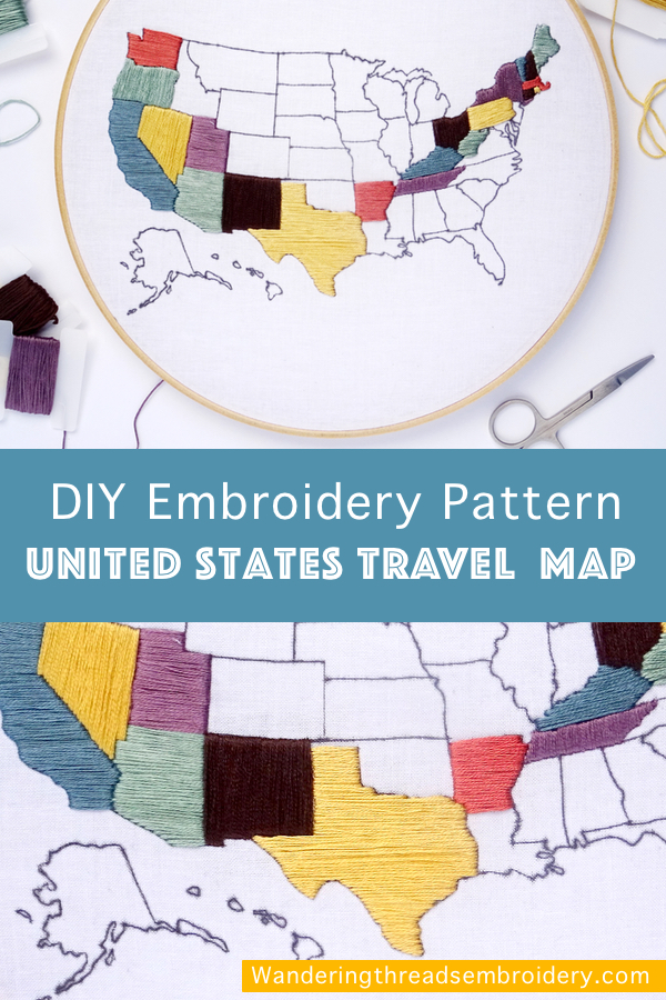 United States Travel Map Embroidery Pattern Wandering Threads - Us-travel-map