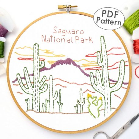 Saguaro National Park Embroidery Pattern