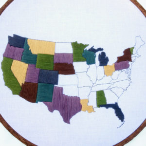 US Travel Map Embroidery Pattern