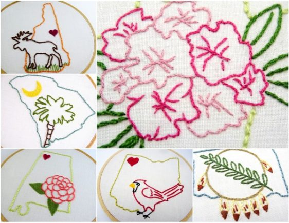 50 States, 50 Embroidery Patterns