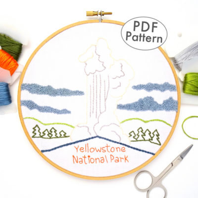 Yellowstone National Park Embroidery Pattern