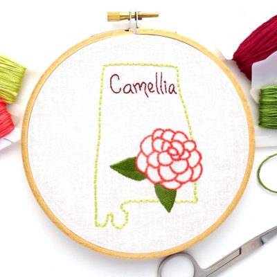 Alabama State Flower Hand Embroidery Pattern {Camellia}