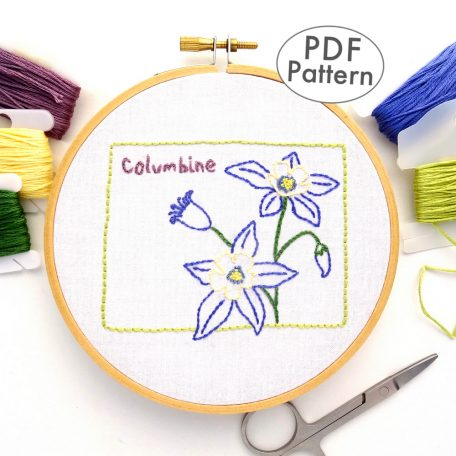 Colorado State Flower Hand Embroidery Pattern {Columbine}