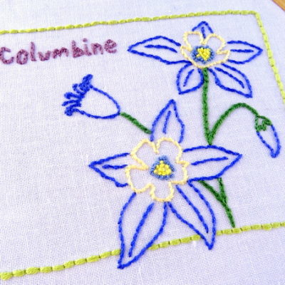 Colorado State Flower Hand Embroidery Patten {Columbine}