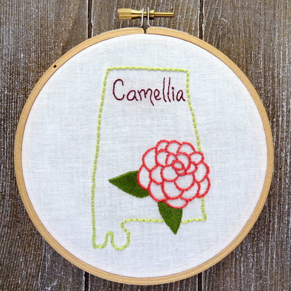 Alabama State Flower Hand Embroidery Patten {Camellia}