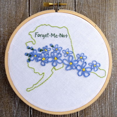 Alaska State Flower Hand Embroidery Patten {Forget-Me-Not}