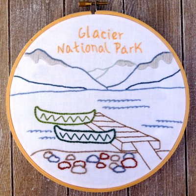 Glacier National Park Hand Embroidery Pattern