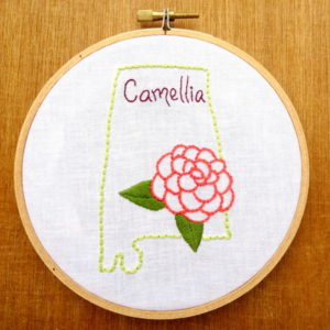 Alabama State Flower Embroidery Pattern {Camellia}