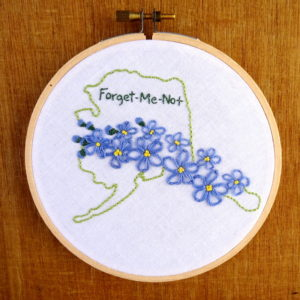 Alaska State Flower Embroidery Pattern {Forget-Me-Not}