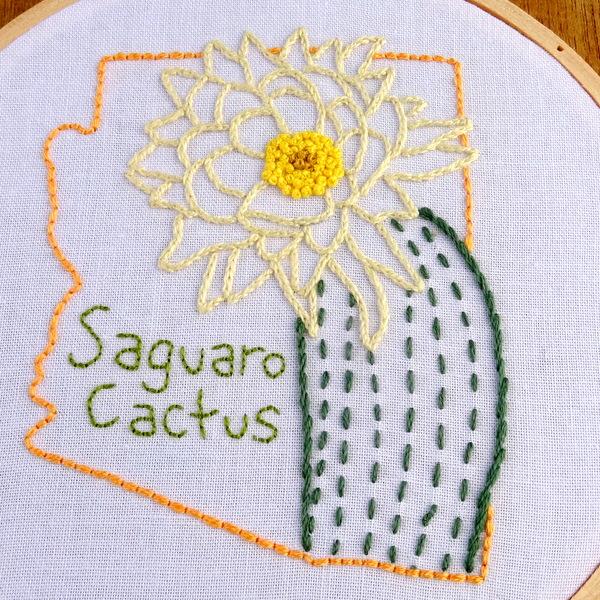 Arizona state embroidery pattern saguaro cactus