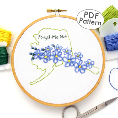 Alaska State Flower Hand Embroidery Pattern {Forget-Me-Not}