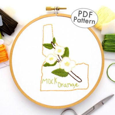 Idaho State Flower Hand Embroidery Pattern {Mock Orange}