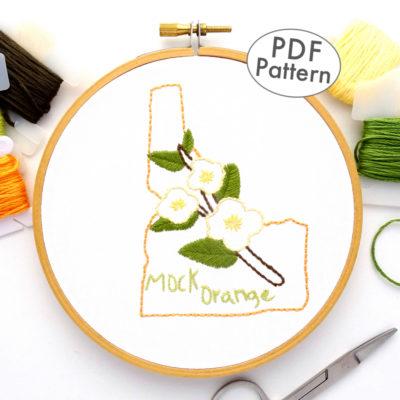 Idaho State Flower Hand Embroidery Pattern {Mock Orange}