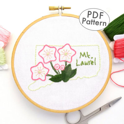 Connecticut State Flower Hand Embroidery Pattern { Mt. Laurel}