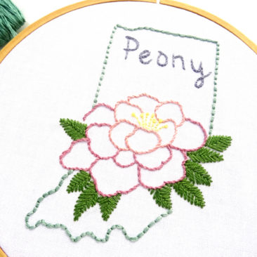 Indiana State Flower Hand Embroidery Pattern {Peony}