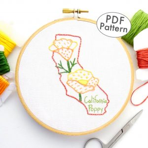 California Flower Hand Embroidery Pattern {California Poppy}