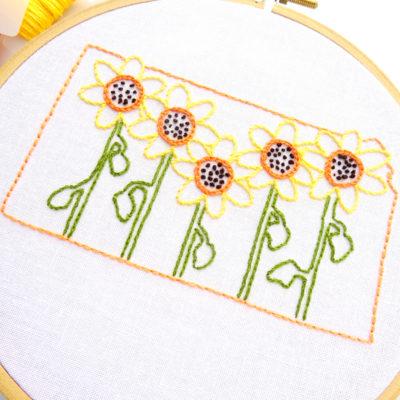 Kansas State Flower Hand Embroidery Pattern {Sunflower}