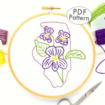 Illinois State Flower Hand Embroidery Pattern {Violet}