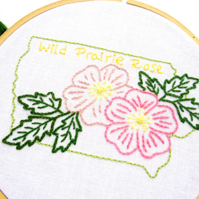 Iowa State Flower Hand Embroidery Pattern {Wild Prairie Rose}