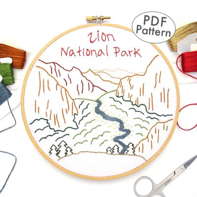 Zion National Park Hand Embroidery Pattern