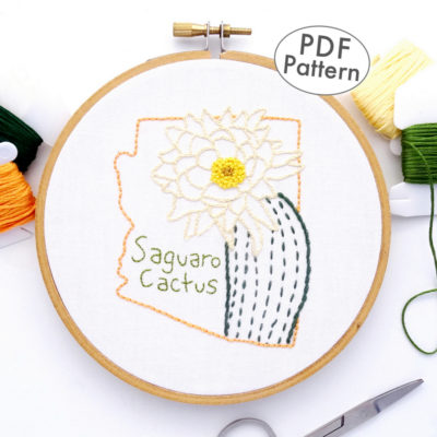 Arizona Flower Hand Embroidery Pattern {Saguaro Cactus}