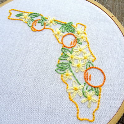 Florida State Flower Hand Embroidery Patten {Orange Blossom}