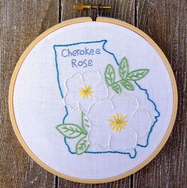Georgia state flower embroidery pattern cherokee rose