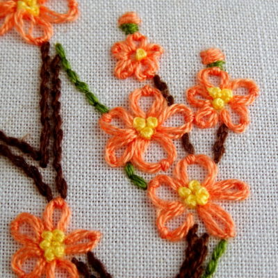 Delaware State Flower Embroidery Pattern {Peach Blossom}