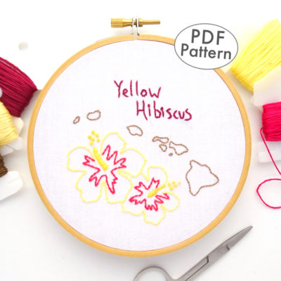 Hawaii State Flower Hand Embroidery Pattern {Yellow Hibiscus}