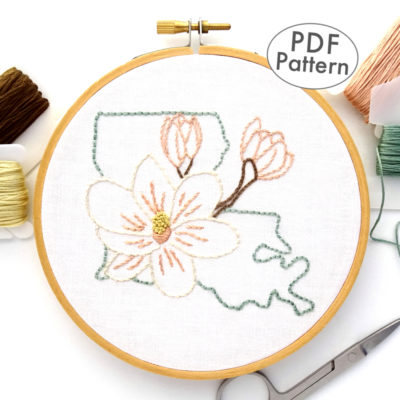 Louisiana State Flower Hand Embroidery Pattern {Magnolia}
