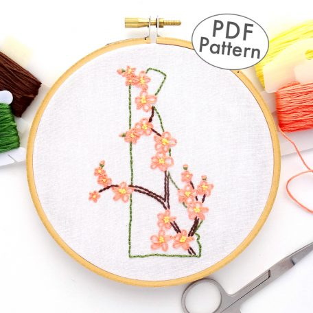 Delaware State Flower Hand Embroidery Pattern {Peach Blossom}