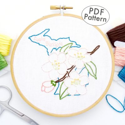 Michigan State Flower Hand Embroidery Pattern {Apple Blossom}