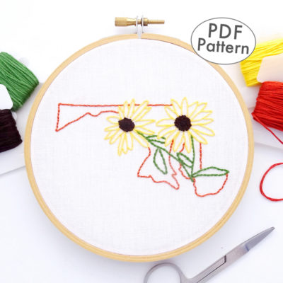 Maryland State Flower Hand Embroidery Pattern {Black-Eyed-Susan}