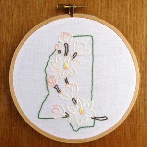 Mississippi State Flower Embroidery Pattern {Magnolia}